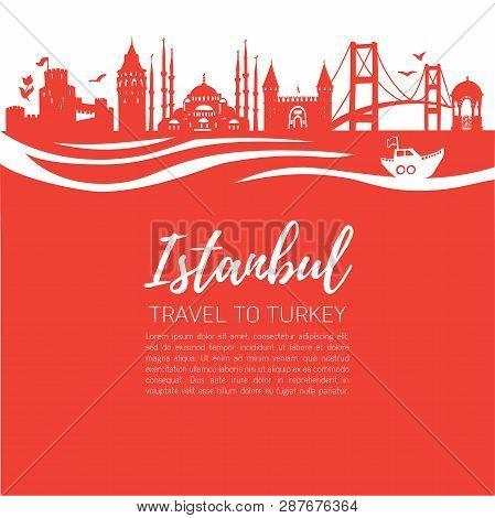 Istanbul. Travel To Turkey. Modern Flat Vector Illustration Of Famous Turkish Landmarks: Galata Towe