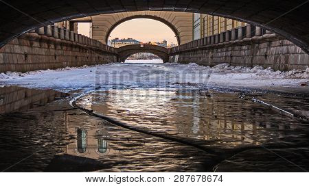 The Ice In The Winter Groove. View From Under The First Winter Bridge.