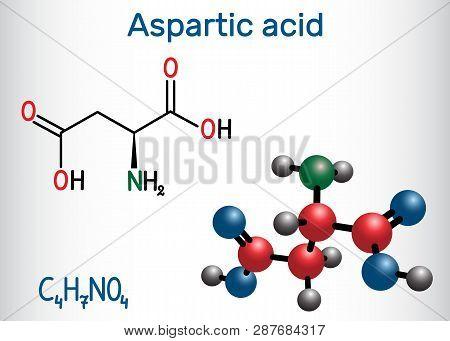 Aspartic Acid (l- Aspartic Acid, Asp, D, Aspartate) Proteinogenic Amino Acid Molecule.  Structural C