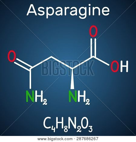 Asparagine (l-asparagine , Asn, N) Amino Acid Molecule. It Is Is Used In The Biosynthesis Of Protein