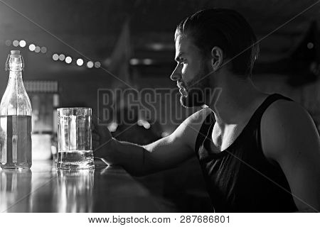 Its Time For Some Light Brew. Addicting To Alcoholic Drink. Man Drinker In Pub. Handsome Man Drink B