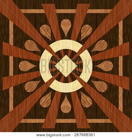 Simple Wooden Inlays Composed Of Rectangles Of Differently Colored Wood. Wooden Texture, Floor Parqu