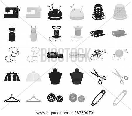 Atelier and sewing black, monochrome icons in set collection for design. Equipment and tools for sewing vector symbol stock web illustration. poster