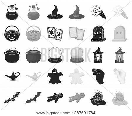 Black, Monochrome And White Magic Black, Monochrome Icons In Set Collection For Design. Attributes A