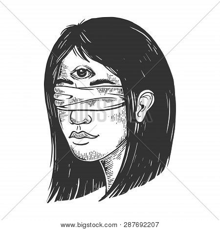 Blindfolded Clairvoyant Young Woman With Three Eyes Forehead Vintage Sketch Engraving Vector Illustr