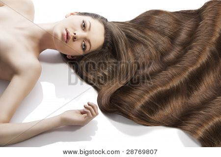 Beauty Young Girl Hairstyle, Her Left Arm Is Raised