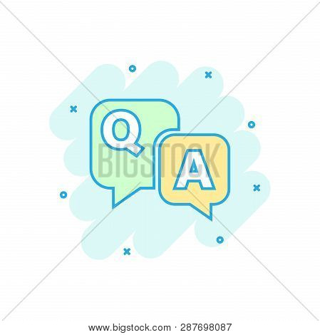 Question And Answer Icon In Comic Style. Discussion Speech Bubble Vector Cartoon Illustration Pictog