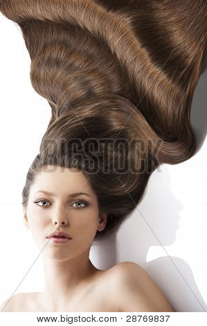 Beauty Young Girl Hairstyle, In Front Of The Camera