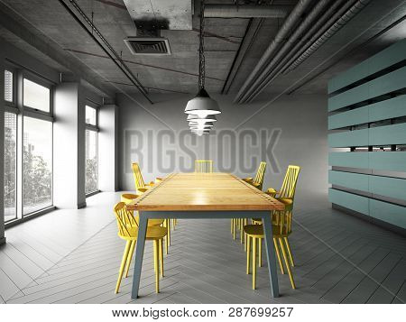 Modern Office Space With Tables And Chairs 3d Render