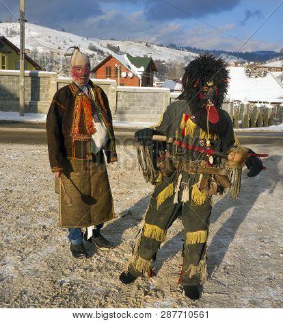 Lazeyschina, Carpathian Mountains, Ukraine-january 9, 2015: Traditional Folk Gulyaniya- Young People