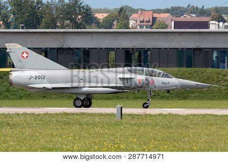 Payerne, Switzerland - September 3, 2014: Former Swiss Air Force Dassault Mirage Iii Fighter Aircraf