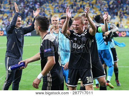Kyiv, Ukraine - August 28, 2018: Afc Ajax Players Celebrate The Reach Of Group Stage After The Uefa