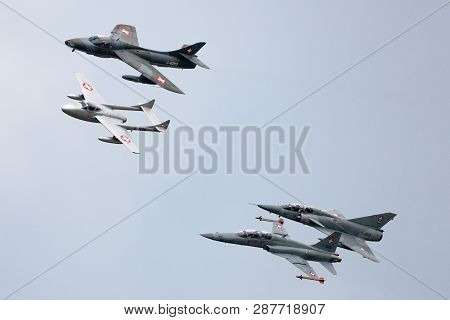 Payerne, Switzerland - August 29, 2014: Formation Of Former Swiss Air Force Jet Aircraft Comprised O
