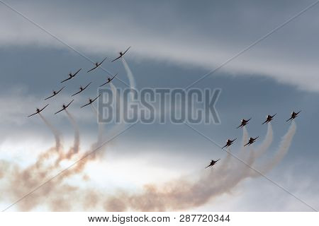 Payerne, Switzerland - September 1, 2014: Patrouille Suisse Formation Display Team Of The Swiss Air