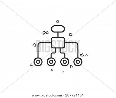 Restructuring Line Icon. Business Architecture Sign. Delegate Symbol. Geometric Shapes. Random Cross