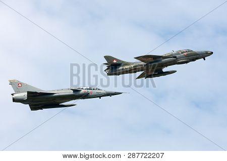 Payerne, Switzerland - September 7, 2014: Former Swiss Air Force Dassault Mirage Iii Fighter Aircraf