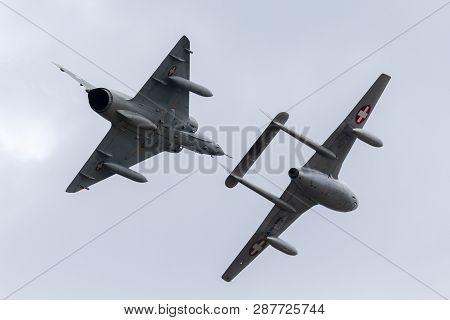 Payerne, Switzerland - August 29, 2014: Former Swiss Air Force Dassault Mirage Iii Fighter Aircraft