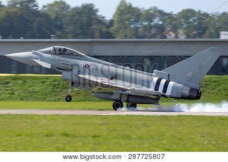 Payerne, Switzerland - September 5, 2014: Royal Air Force (raf) Eurofighter Ef-2000 Typhoon Fgr4 Zk3