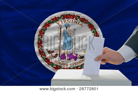 Man Voting On Elections In Front Of Flag Us State Flag Of Virginia