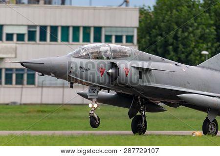 Payerne, Switzerland - August 31, 2014: Former Swiss Air Force Dassault Mirage Iii Fighter Aircraft
