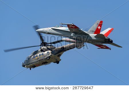 Payerne, Switzerland - September 6, 2014: Swiss Air Force Aerospatiale As532 (th98) Military Utility