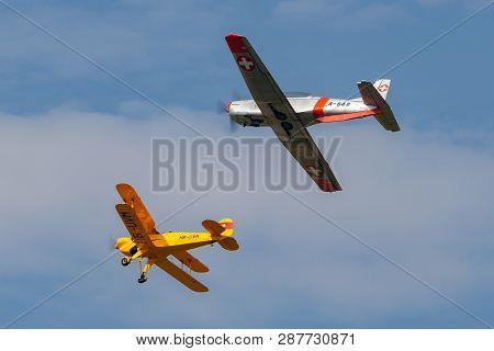 Payerne, Switzerland - September 7, 2014: Bücker Bü 131 Hb-uvm Leading Pilatus P-3 N848ad In Formati