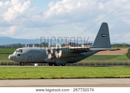 Payerne, Switzerland - September 8, 2014: United Arab Emirates Air Force Lockheed C-130 Hercules Mil