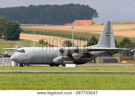 Payerne, Switzerland - September 4, 2014: United Arab Emirates Air Force Lockheed C-130 Hercules Mil