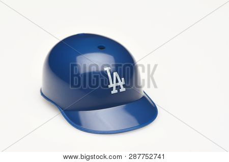 Irvine, California - February 28, 2019:  Closeup Of A Mini Collectable Batters Helmet For The Los An