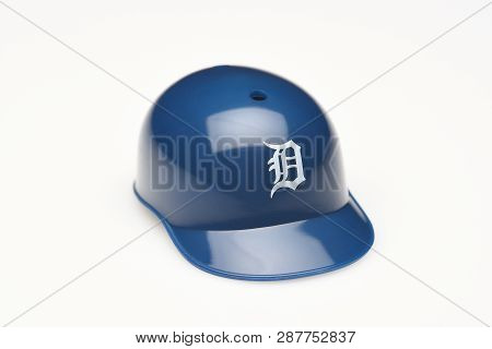 Irvine, California - February 28, 2019:  Closeup Of A Mini Collectable Batters Helmet For The Detroi