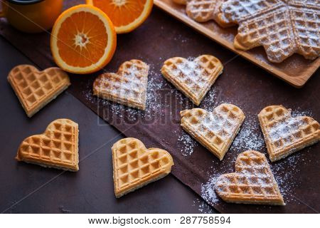 delicious homemade waffles with fruits - sweet food