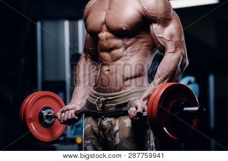 Sexy Strong Bodybuilder Athletic Fitness Man Pumping Up Abs Muscles Workout Bodybuilding Concept Bac