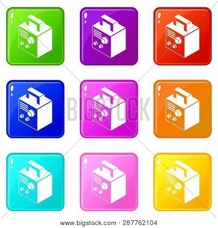 Electro Welding Machine Icons Set 9 Color Collection Isolated On White For Any Design