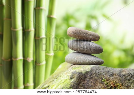 Stack Of Traditional Zen In Garden, Space For Text. Zen, Balance, Harmony