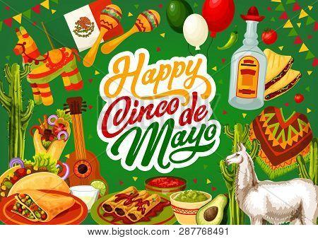 Happy Cinco De Mayo, Mexico Celebration Holiday Food And Fiesta Symbols On Mexican Background. Vecto