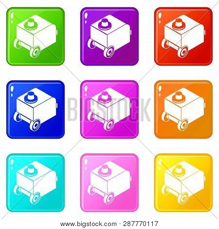 Welding Machine Icons Set 9 Color Collection Isolated On White For Any Design