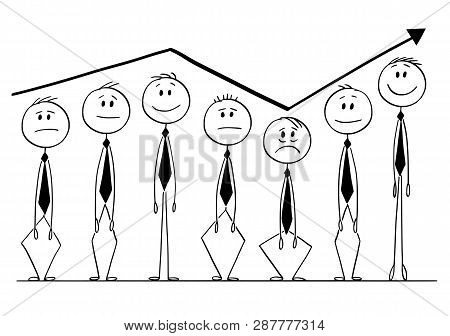 Cartoon Stick Figure Drawing Conceptual Illustration Of Group Of Businessmen Rising Up And Down Foll