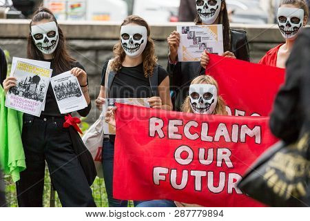 New York, Usa - October 8, 2018: Group Of Students Standing With The Sign Reclaim Our Future At The