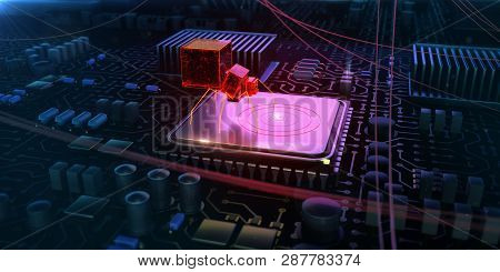 Red Glowing Compiter Bug On Infected Chip In Cyberspace 3d Redner. Spyware, Malware, Virus Trojan, K