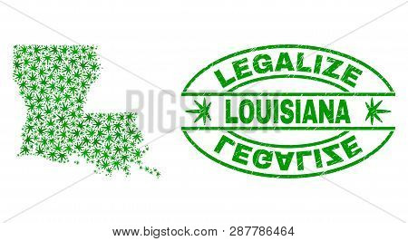 Vector Marijuana Louisiana State Map Mosaic And Grunge Textured Legalize Stamp Seal. Concept With Gr