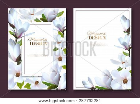 Greeting Card With Magnolia Flowers, Wedding Booklet With Decoration Flowers