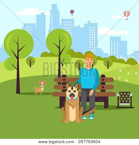 Dog Lover Walk In Park Vector Flat Illustration. Cartoon Character Pet Owner And Dogs In Garden. Ani