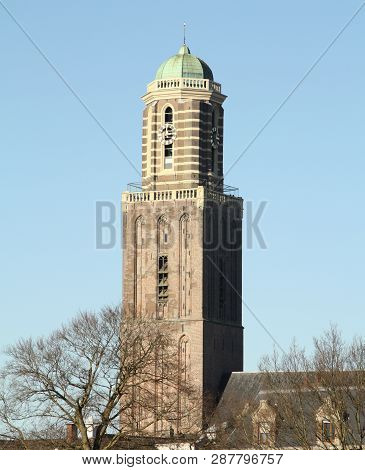 Tower Of The Our Lady Basilica (de Peperbus) From 1454 In The City Of Zwolle. The Netherlands