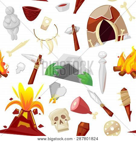 Stone Age Vector Primeval Neanderthal Stoned Weapon Axe And Prehistoric Primitive Spear Of Ancient C