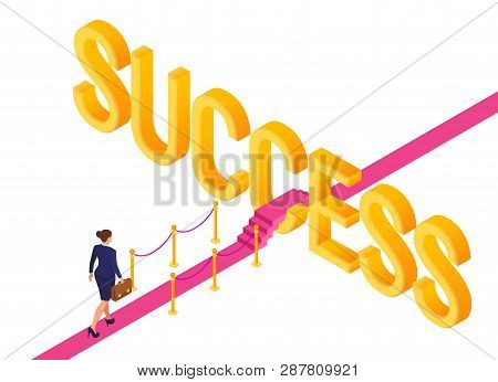 Road To Success. Business Strategy Concept. Business Woman With Briefcase In Hand Walking On Red Car