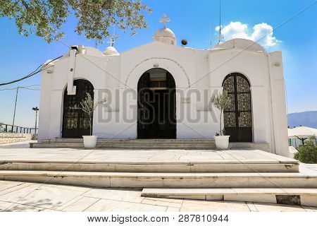 Saint Georges Chapel On Top Of Mount Lycabettus In Athens, Greece.
