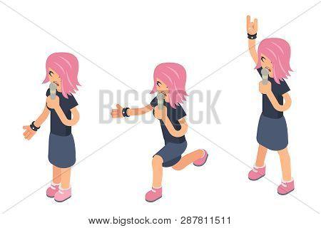 Popular Modern Girl Singer Female Performer Woman Soloist Isometric 3d Icon Sing Song Microphone Har