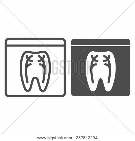Dental Xray Line And Glyph Icon. Tooth Xray Vector Illustration Isolated On White. Orthodontic Roent