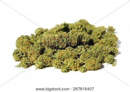 Dried Marijuana buds. Close up of Cannabis Sativa. Prescription Medical and Recreational Dried Marijuana Flower Bud. isolated on white. Room for your text.