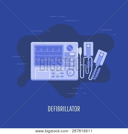 Vector Illustration Of A Medical Equipment In Flat Style. Medical Defibrillator